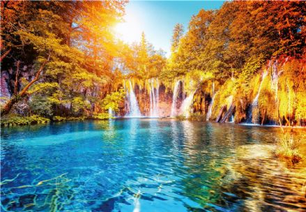 Photo wallpaper Waterfall And Lake In Croatia